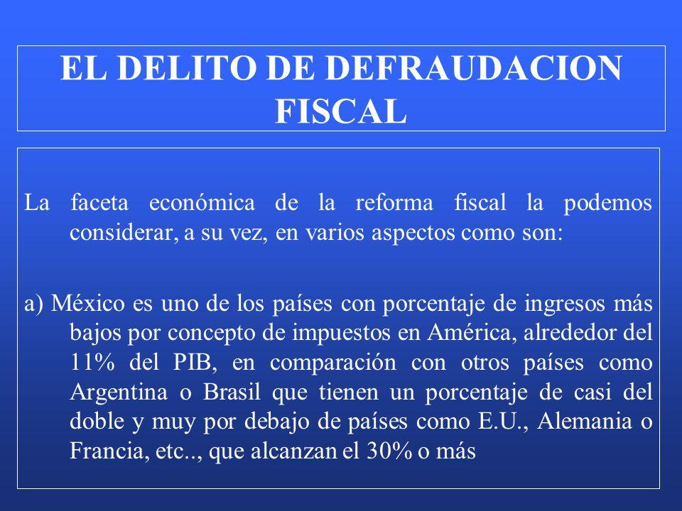 La faceta económica de la reforma fiscal la podemos considerar, a su vez, en varios aspectos como son: a) México es uno de los países con porcentaje d
