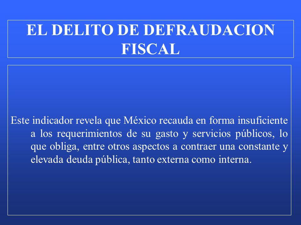 Este indicador revela que México recauda en forma insuficiente a los requerimientos de su gasto y servicios públicos, lo que obliga, entre otros aspec