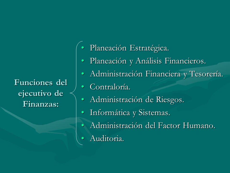 Funciones del ejecutivo de Finanzas: Planeación Estratégica.Planeación Estratégica. Planeación y Análisis Financieros.Planeación y Análisis Financiero