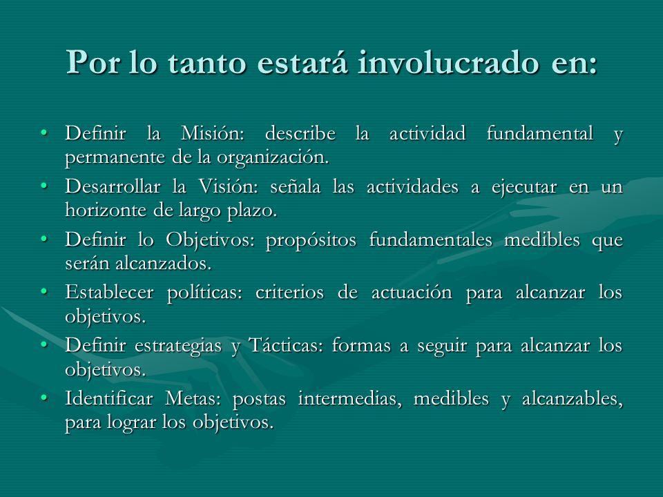 Por lo tanto estará involucrado en: Definir la Misión: describe la actividad fundamental y permanente de la organización.Definir la Misión: describe l