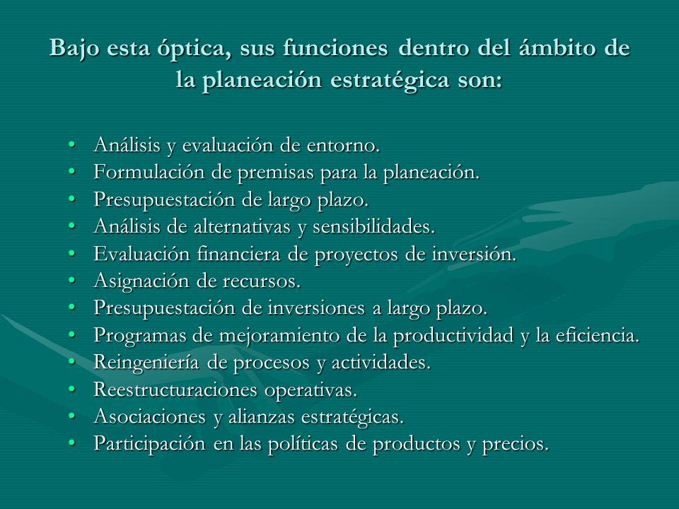 Bajo esta óptica, sus funciones dentro del ámbito de la planeación estratégica son: Análisis y evaluación de entorno.Análisis y evaluación de entorno.