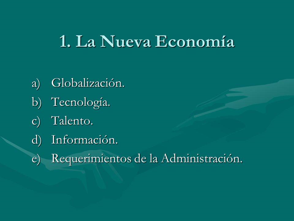 1. La Nueva Economía a)Globalización. b)Tecnología. c)Talento. d)Información. e)Requerimientos de la Administración.