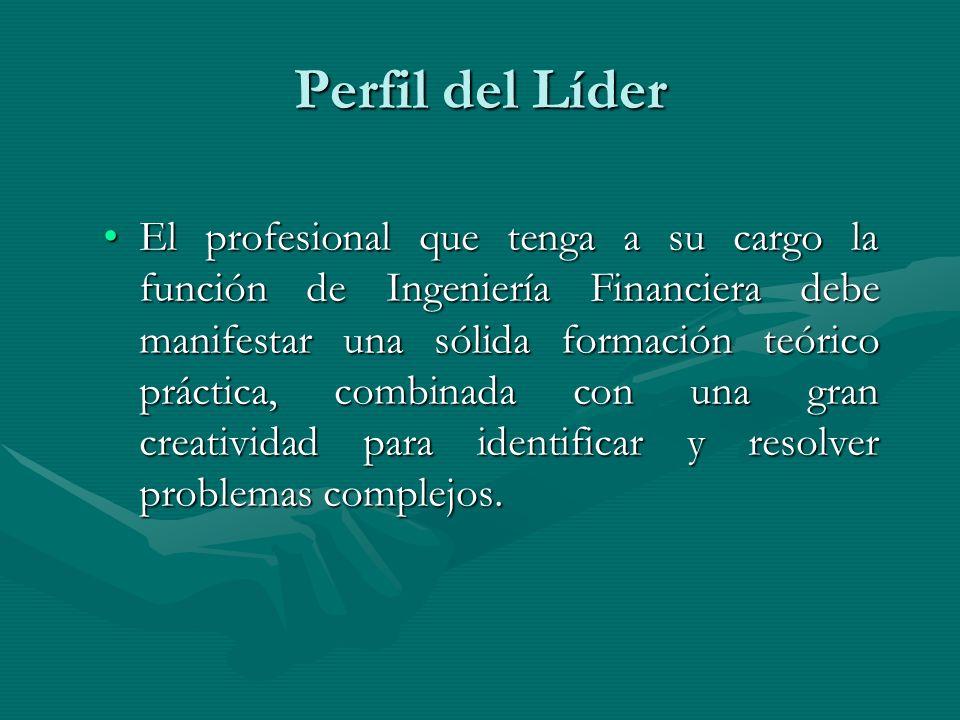 Perfil del Líder El profesional que tenga a su cargo la función de Ingeniería Financiera debe manifestar una sólida formación teórico práctica, combin