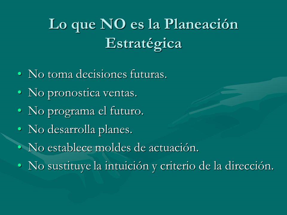 Lo que NO es la Planeación Estratégica No toma decisiones futuras.No toma decisiones futuras. No pronostica ventas.No pronostica ventas. No programa e
