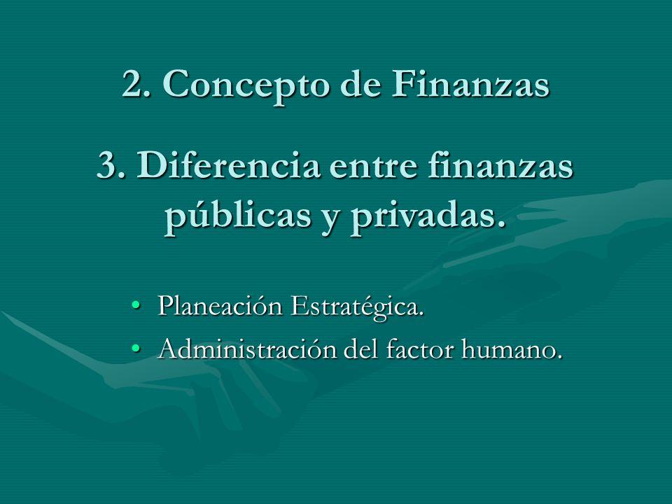 2. Concepto de Finanzas Planeación Estratégica.Planeación Estratégica. Administración del factor humano.Administración del factor humano. 3. Diferenci