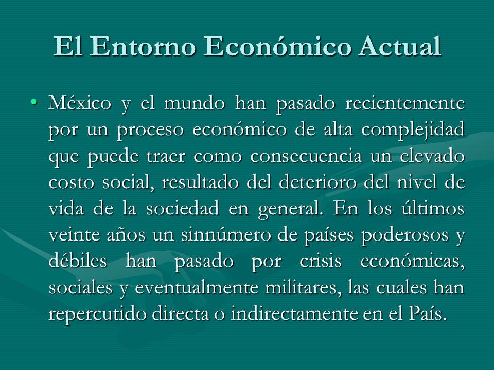 El Entorno Económico Actual México y el mundo han pasado recientemente por un proceso económico de alta complejidad que puede traer como consecuencia
