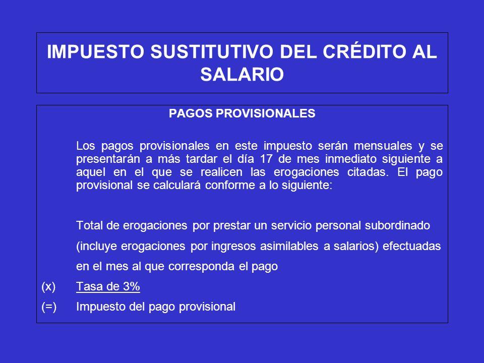 IMPUESTO SUSTITUTIVO DEL CRÉDITO AL SALARIO PAGOS PROVISIONALES Los pagos provisionales en este impuesto serán mensuales y se presentarán a más tardar