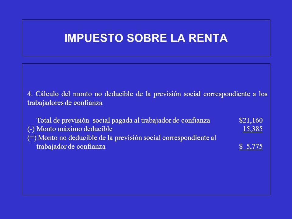 IMPUESTO SOBRE LA RENTA 4. Cálculo del monto no deducible de la previsión social correspondiente a los trabajadores de confianza Total de previsión so