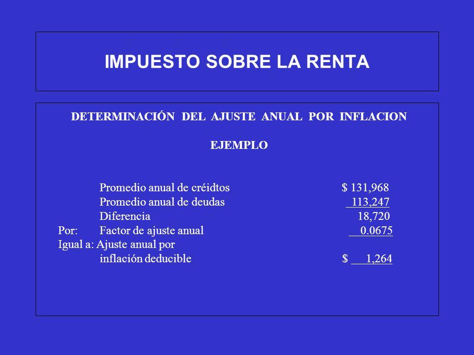 IMPUESTO SOBRE LA RENTA DETERMINACIÓN DEL AJUSTE ANUAL POR INFLACION EJEMPLO Promedio anual de créidtos $ 131,968 Promedio anual de deudas 113,247 Dif