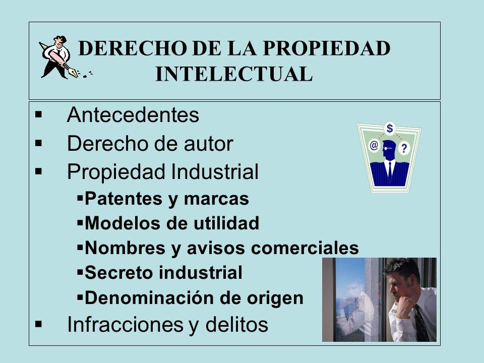 DERECHO DE LA PROPIEDAD INTELECTUAL Antecedentes Derecho de autor Propiedad Industrial Patentes y marcas Modelos de utilidad Nombres y avisos comercia