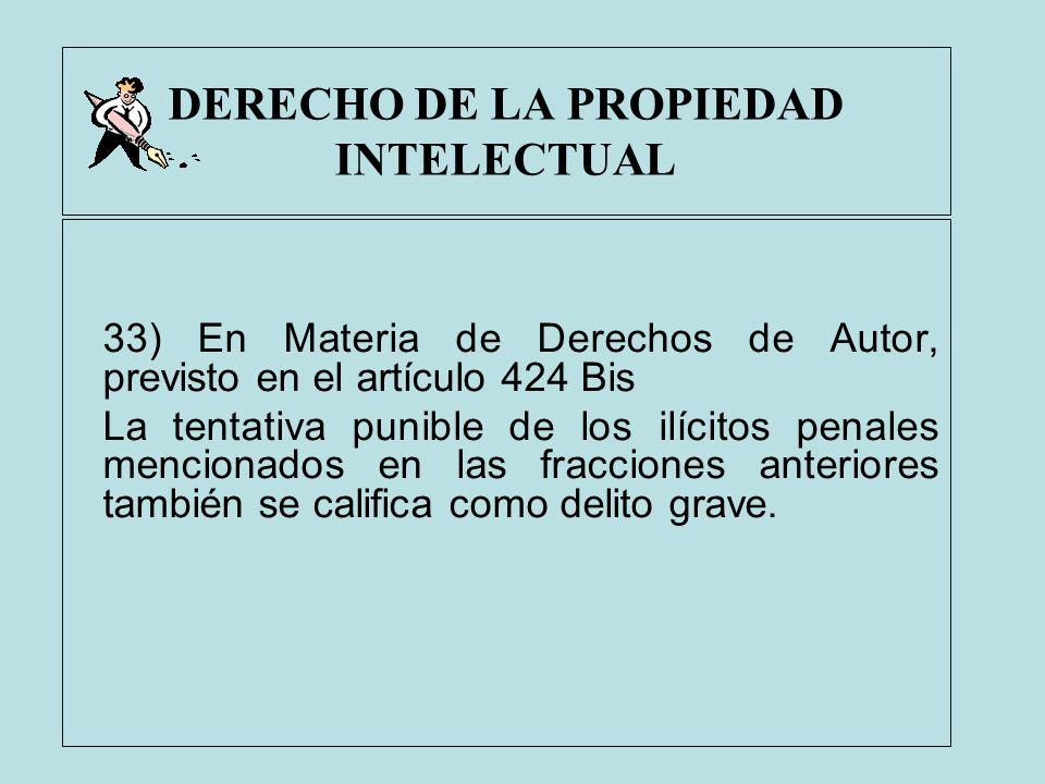 DERECHO DE LA PROPIEDAD INTELECTUAL 33) En Materia de Derechos de Autor, previsto en el artículo 424 Bis La tentativa punible de los ilícitos penales