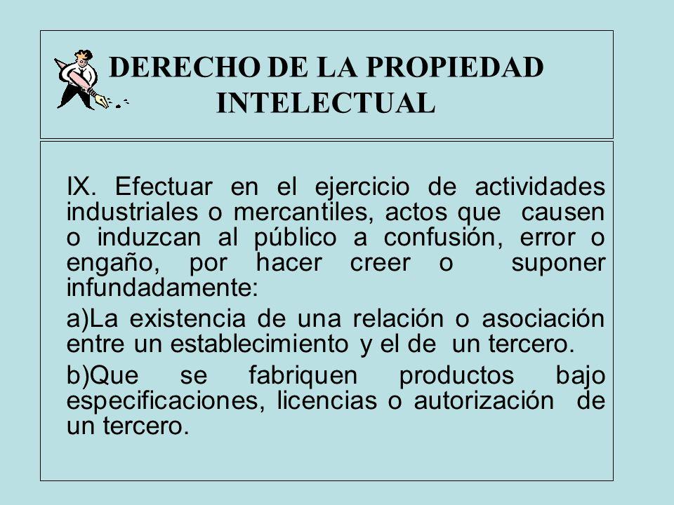 DERECHO DE LA PROPIEDAD INTELECTUAL IX. Efectuar en el ejercicio de actividades industriales o mercantiles, actos que causen o induzcan al público a c