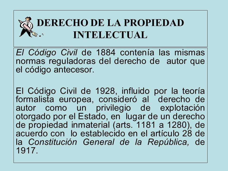DERECHO DE LA PROPIEDAD INTELECTUAL El Código Civil de 1884 contenía las mismas normas reguladoras del derecho de autor que el código antecesor. El Có