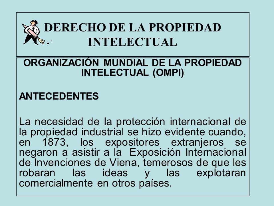 DERECHO DE LA PROPIEDAD INTELECTUAL ORGANIZACIÓN MUNDIAL DE LA PROPIEDAD INTELECTUAL (OMPI) ANTECEDENTES La necesidad de la protección internacional d