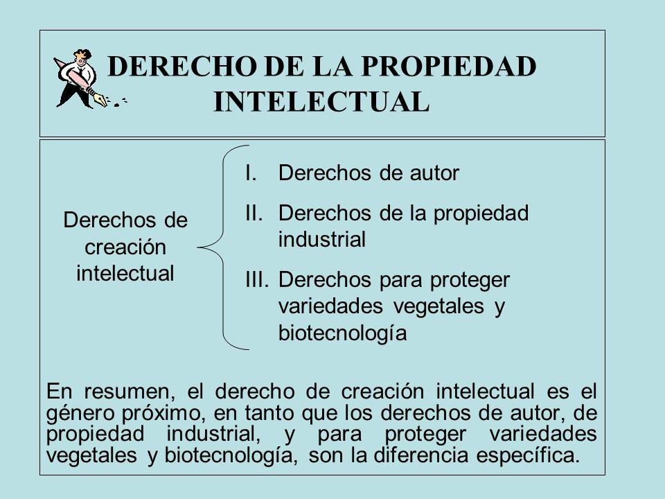 DERECHO DE LA PROPIEDAD INTELECTUAL En resumen, el derecho de creación intelectual es el género próximo, en tanto que los derechos de autor, de propie