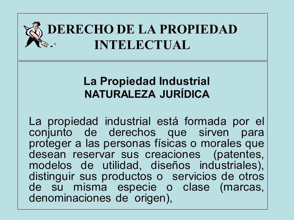 DERECHO DE LA PROPIEDAD INTELECTUAL La Propiedad Industrial NATURALEZA JURÍDICA La propiedad industrial está formada por el conjunto de derechos que s