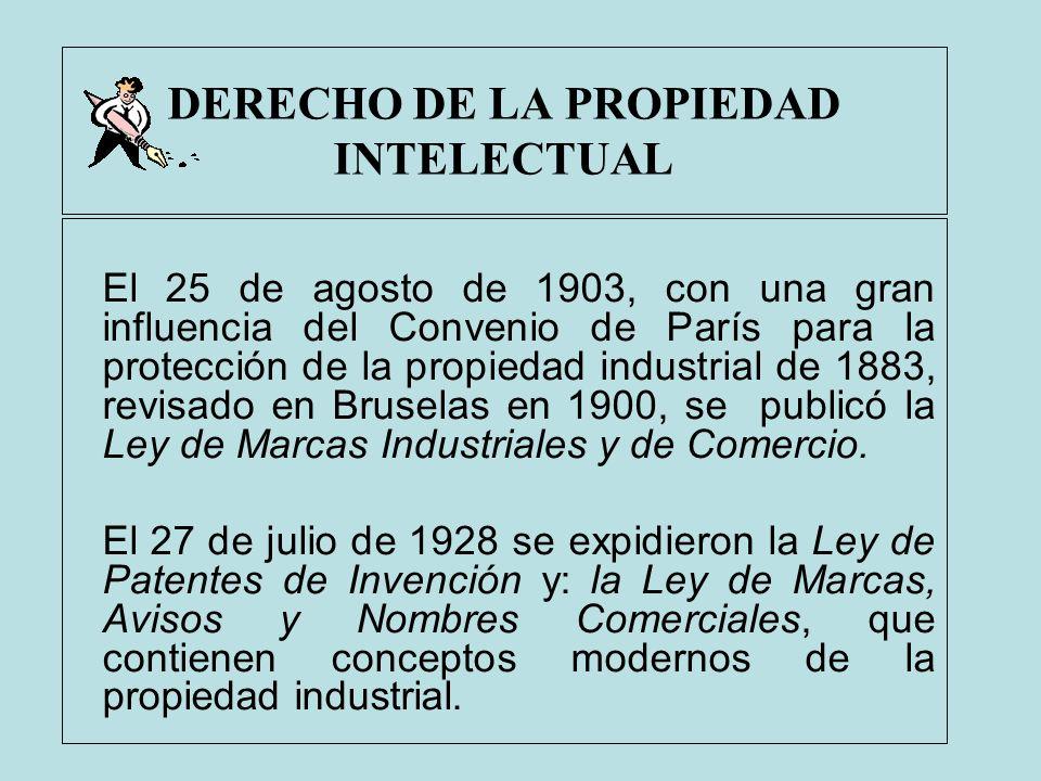 DERECHO DE LA PROPIEDAD INTELECTUAL El 25 de agosto de 1903, con una gran influencia del Convenio de París para la protección de la propiedad industri