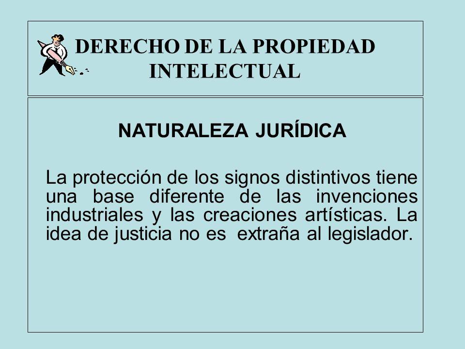 DERECHO DE LA PROPIEDAD INTELECTUAL NATURALEZA JURÍDICA La protección de los signos distintivos tiene una base diferente de las invenciones industrial