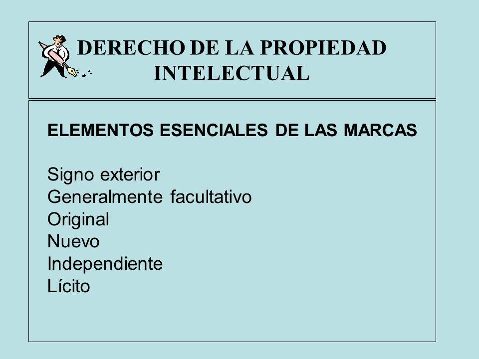 DERECHO DE LA PROPIEDAD INTELECTUAL ELEMENTOS ESENCIALES DE LAS MARCAS Signo exterior Generalmente facultativo Original Nuevo Independiente Lícito