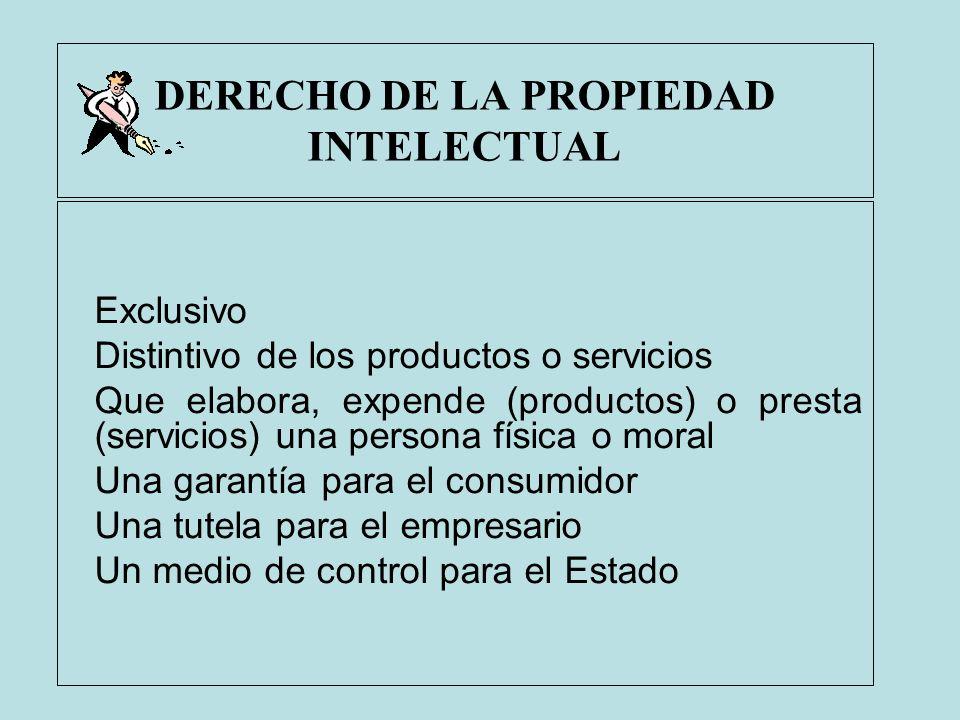 DERECHO DE LA PROPIEDAD INTELECTUAL Exclusivo Distintivo de los productos o servicios Que elabora, expende (productos) o presta (servicios) una person