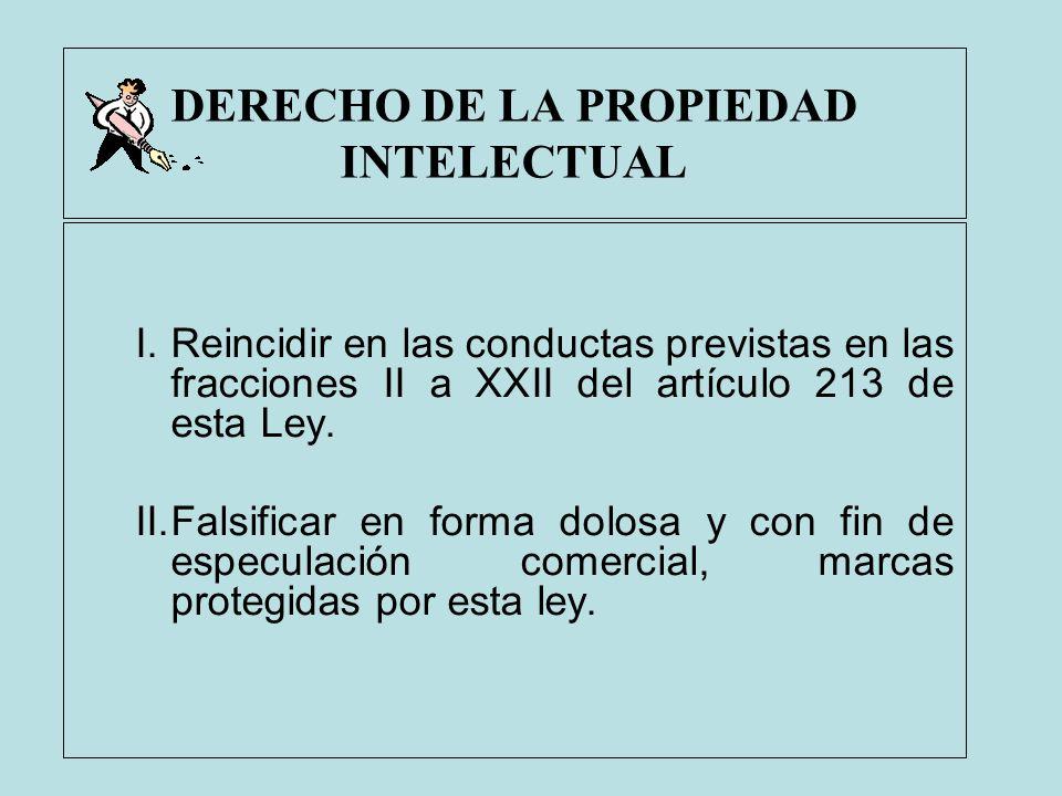 DERECHO DE LA PROPIEDAD INTELECTUAL I.Reincidir en las conductas previstas en las fracciones II a XXII del artículo 213 de esta Ley. II.Falsificar en