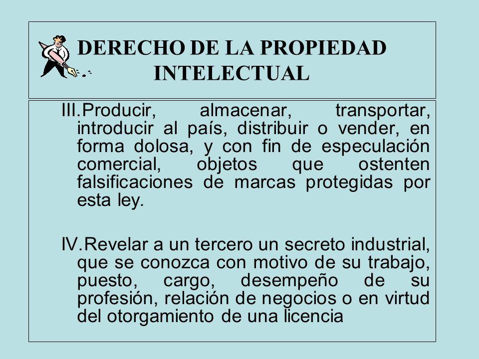 DERECHO DE LA PROPIEDAD INTELECTUAL III.Producir, almacenar, transportar, introducir al país, distribuir o vender, en forma dolosa, y con fin de espec
