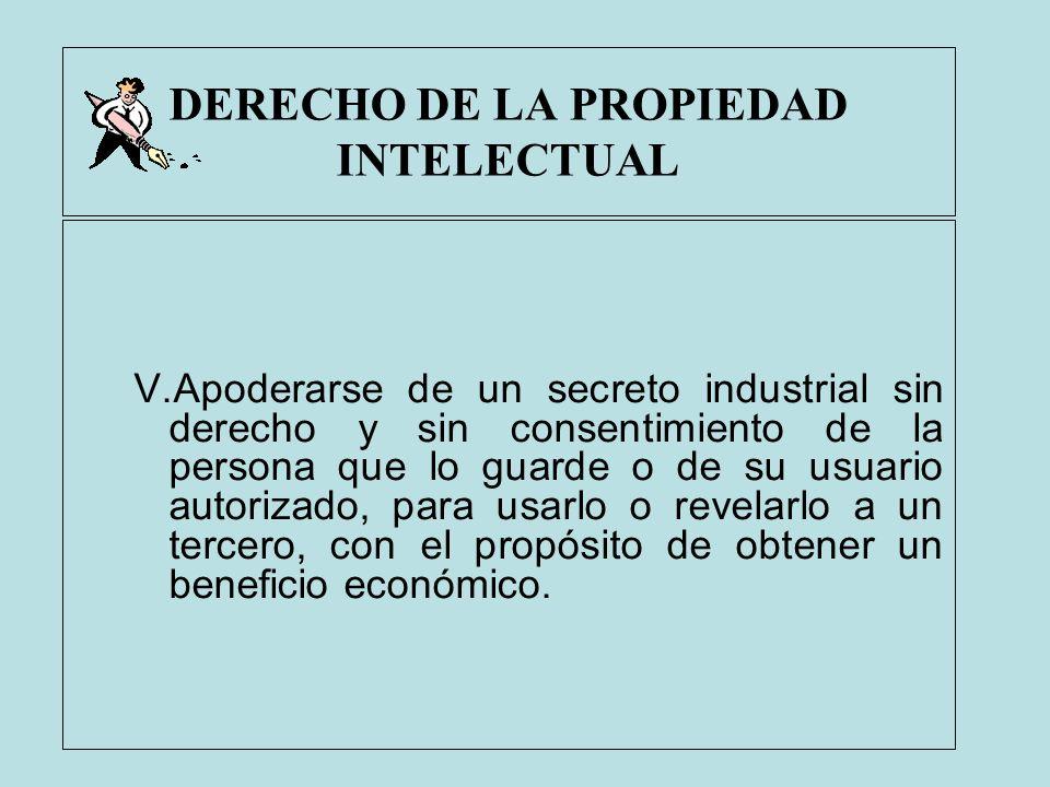 DERECHO DE LA PROPIEDAD INTELECTUAL V.Apoderarse de un secreto industrial sin derecho y sin consentimiento de la persona que lo guarde o de su usuario