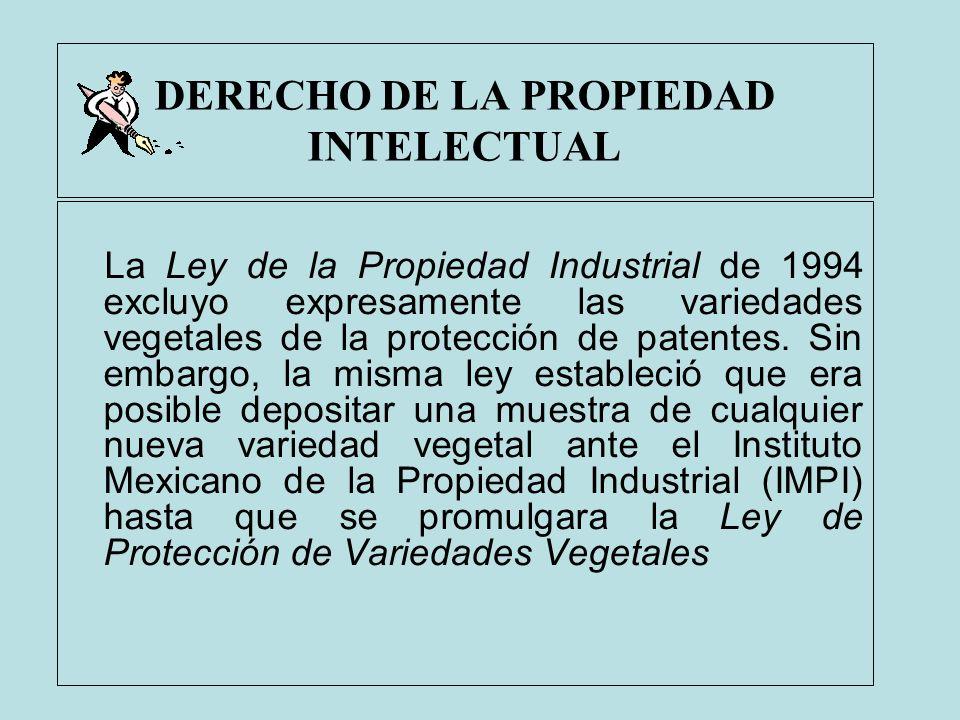 DERECHO DE LA PROPIEDAD INTELECTUAL La Ley de la Propiedad Industrial de 1994 excluyo expresamente las variedades vegetales de la protección de patent