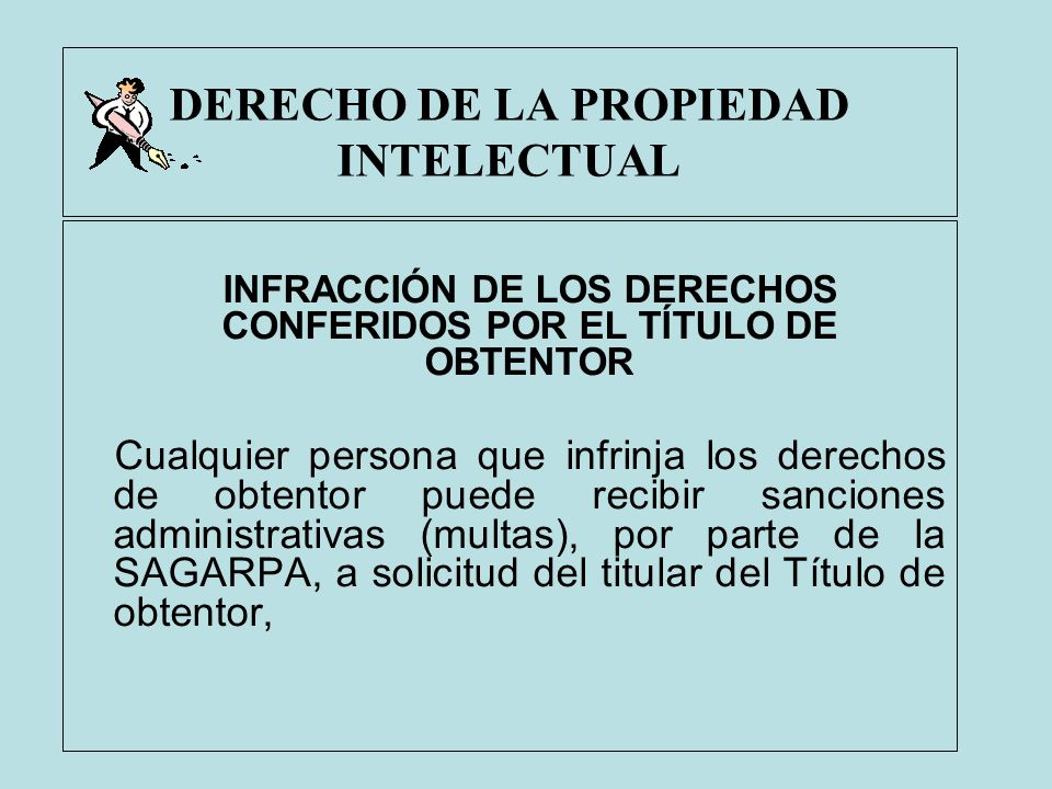 DERECHO DE LA PROPIEDAD INTELECTUAL INFRACCIÓN DE LOS DERECHOS CONFERIDOS POR EL TÍTULO DE OBTENTOR Cualquier persona que infrinja los derechos de obt
