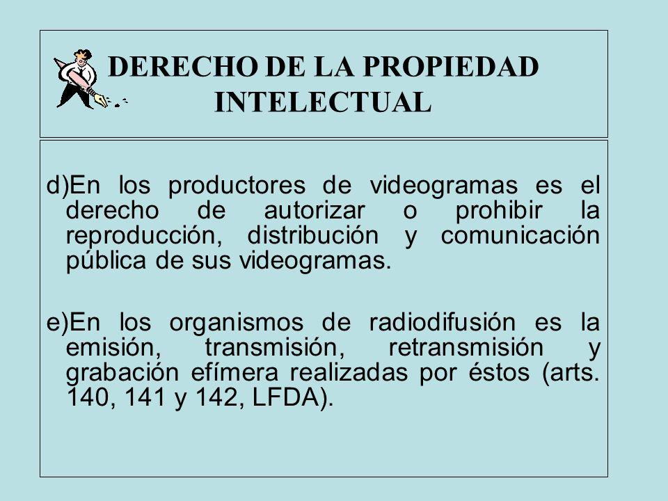 DERECHO DE LA PROPIEDAD INTELECTUAL d)En los productores de videogramas es el derecho de autorizar o prohibir la reproducción, distribución y comunica