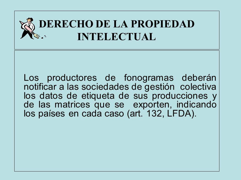 DERECHO DE LA PROPIEDAD INTELECTUAL Los productores de fonogramas deberán notificar a las sociedades de gestión colectiva los datos de etiqueta de sus