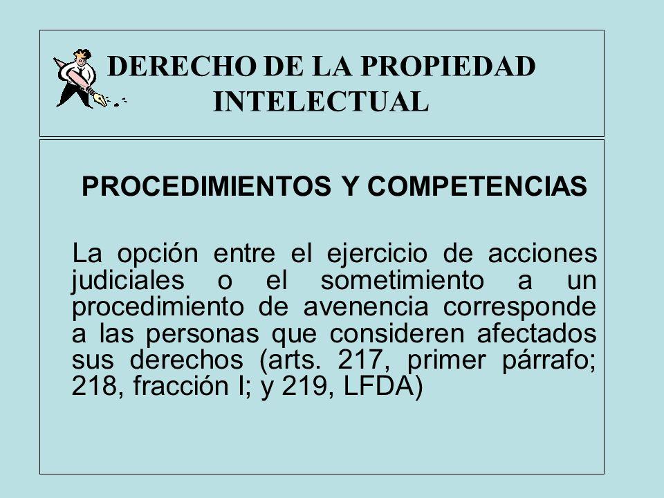 DERECHO DE LA PROPIEDAD INTELECTUAL PROCEDIMIENTOS Y COMPETENCIAS La opción entre el ejercicio de acciones judiciales o el sometimiento a un procedimi