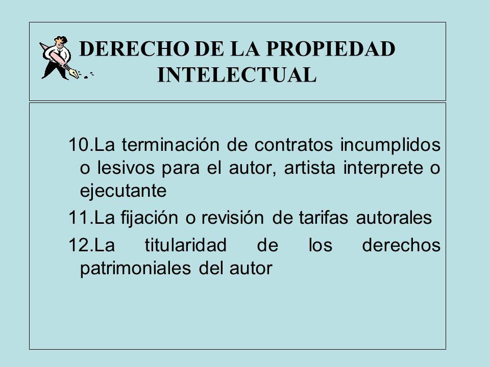 DERECHO DE LA PROPIEDAD INTELECTUAL 10.La terminación de contratos incumplidos o lesivos para el autor, artista interprete o ejecutante 11.La fijación