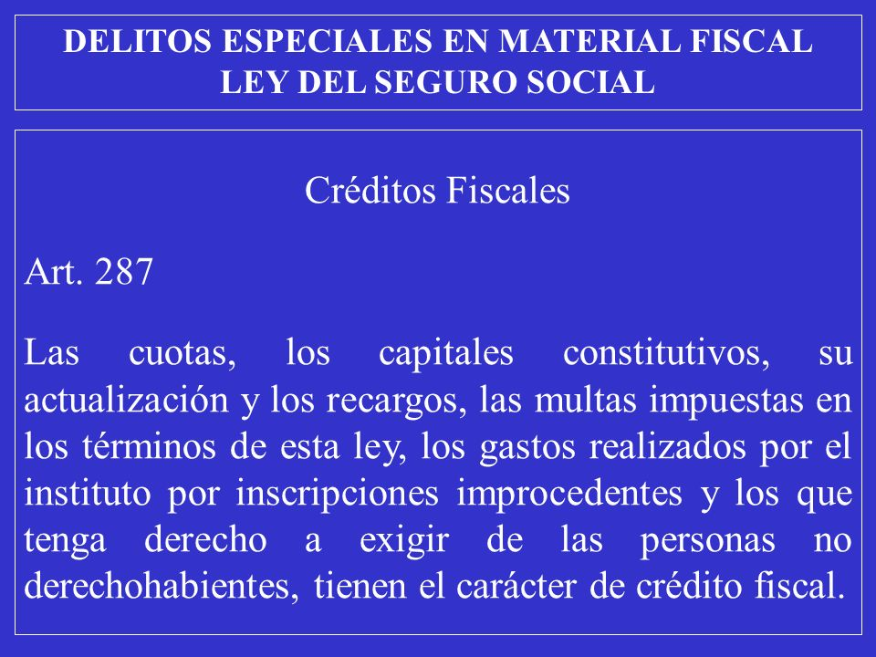 Créditos Fiscales Art.