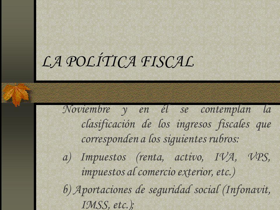LA POLÍTICA FISCAL Noviembre y en él se contemplan la clasificación de los ingresos fiscales que corresponden a los siguientes rubros: a) Impuestos (r