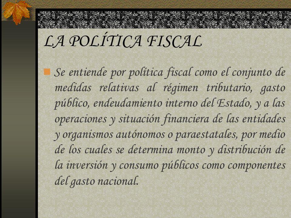 LA POLÍTICA FISCAL Se entiende por política fiscal como el conjunto de medidas relativas al régimen tributario, gasto público, endeudamiento interno d