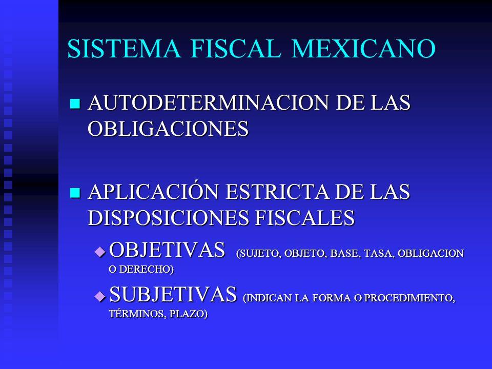 SISTEMA FISCAL MEXICANO AUTODETERMINACION DE LAS OBLIGACIONES AUTODETERMINACION DE LAS OBLIGACIONES APLICACIÓN ESTRICTA DE LAS DISPOSICIONES FISCALES