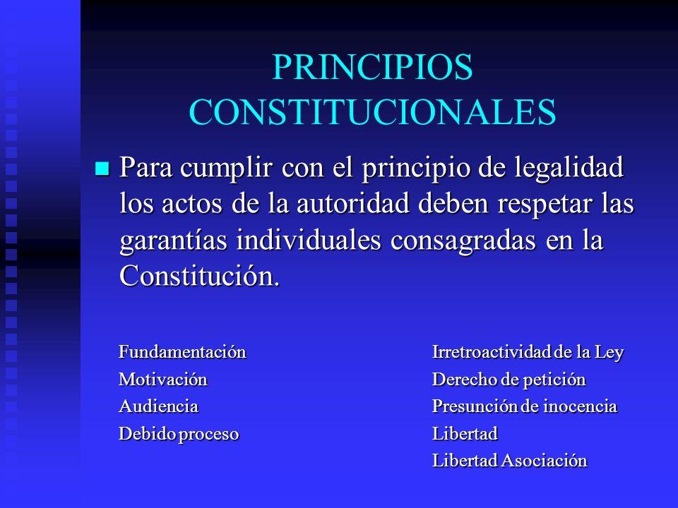 PRINCIPIOS CONSTITUCIONALES Para cumplir con el principio de legalidad los actos de la autoridad deben respetar las garantías individuales consagradas