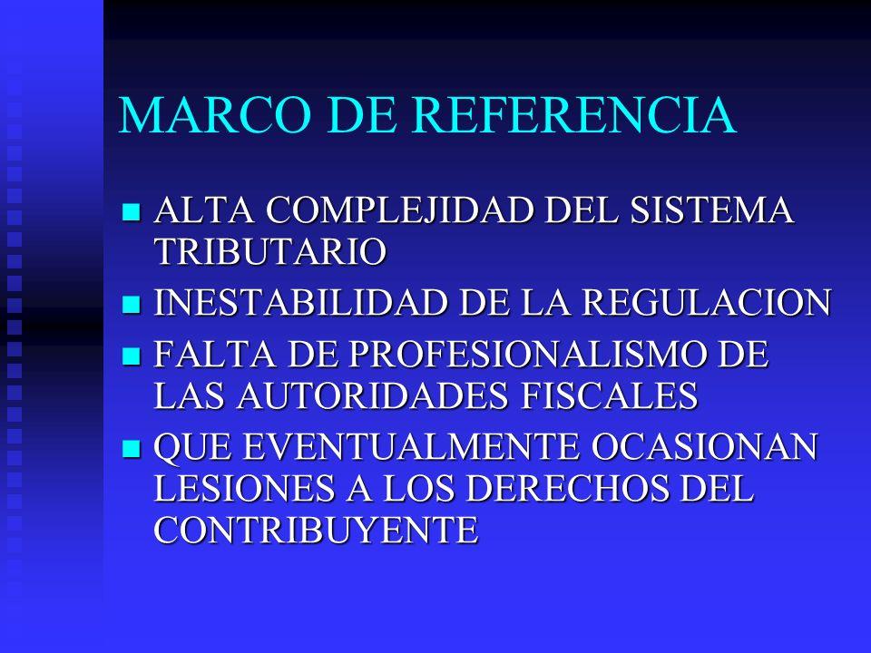 MARCO DE REFERENCIA ALTA COMPLEJIDAD DEL SISTEMA TRIBUTARIO ALTA COMPLEJIDAD DEL SISTEMA TRIBUTARIO INESTABILIDAD DE LA REGULACION INESTABILIDAD DE LA