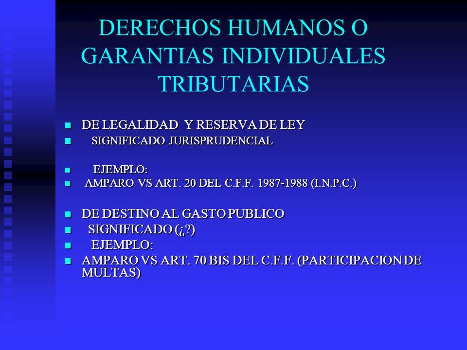 DERECHOS HUMANOS O GARANTIAS INDIVIDUALES TRIBUTARIAS DE LEGALIDAD Y RESERVA DE LEY DE LEGALIDAD Y RESERVA DE LEY SIGNIFICADO JURISPRUDENCIAL SIGNIFIC