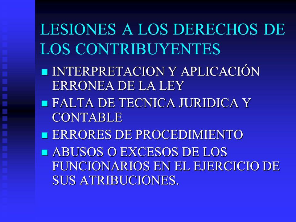 LESIONES A LOS DERECHOS DE LOS CONTRIBUYENTES INTERPRETACION Y APLICACIÓN ERRONEA DE LA LEY INTERPRETACION Y APLICACIÓN ERRONEA DE LA LEY FALTA DE TEC