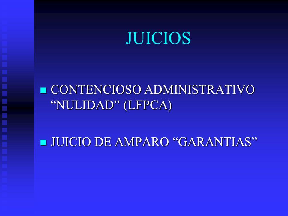 JUICIOS CONTENCIOSO ADMINISTRATIVO NULIDAD (LFPCA) CONTENCIOSO ADMINISTRATIVO NULIDAD (LFPCA) JUICIO DE AMPARO GARANTIAS JUICIO DE AMPARO GARANTIAS