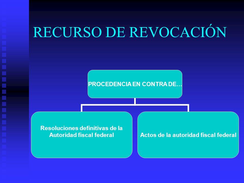 RECURSO DE REVOCACIÓN PROCEDENCIA EN CONTRA DE… Resoluciones definitivas de la Autoridad fiscal federal Actos de la autoridad fiscal federal