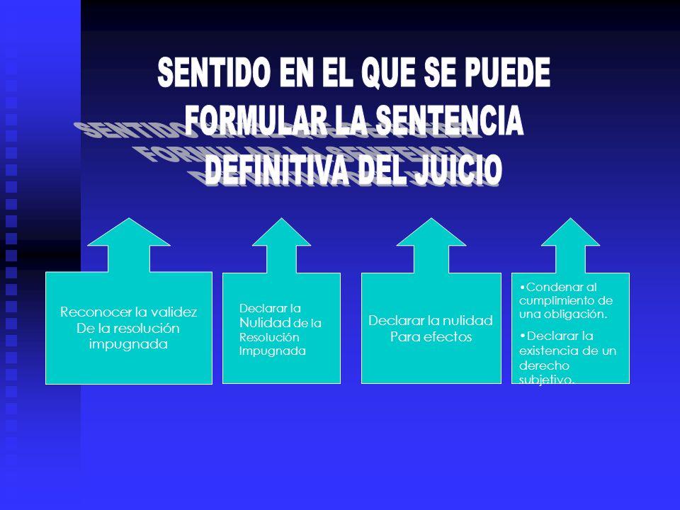 Reconocer la validez De la resolución impugnada Declarar la nulidad Para efectos Declarar la Nulidad de la Resolución Impugnada Condenar al cumplimien