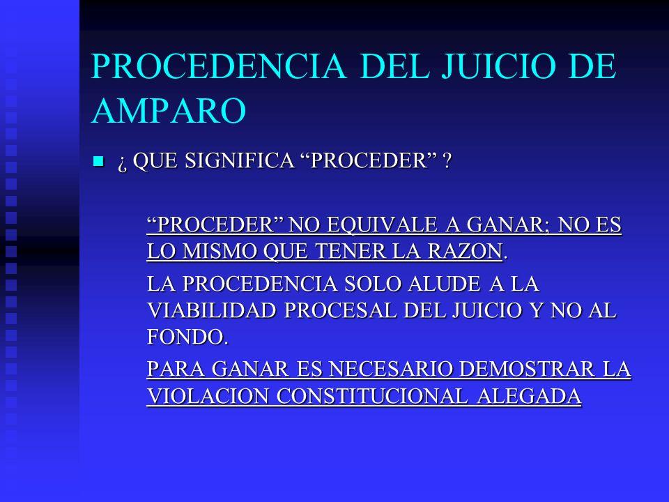 PROCEDENCIA DEL JUICIO DE AMPARO ¿ QUE SIGNIFICA PROCEDER ? ¿ QUE SIGNIFICA PROCEDER ? PROCEDER NO EQUIVALE A GANAR; NO ES LO MISMO QUE TENER LA RAZON
