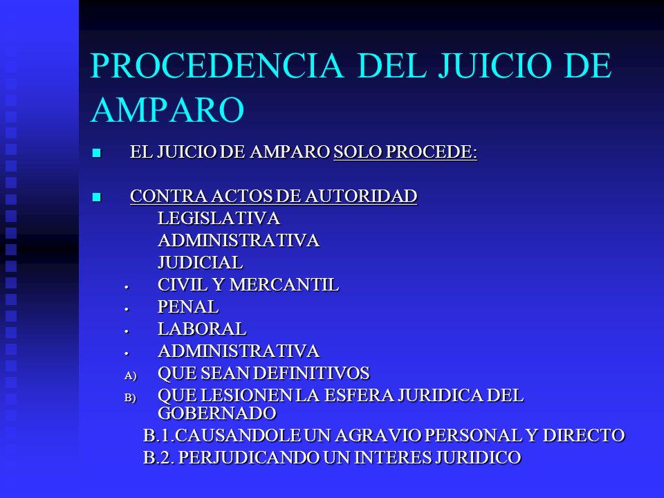 PROCEDENCIA DEL JUICIO DE AMPARO EL JUICIO DE AMPARO SOLO PROCEDE: EL JUICIO DE AMPARO SOLO PROCEDE: CONTRA ACTOS DE AUTORIDAD CONTRA ACTOS DE AUTORID
