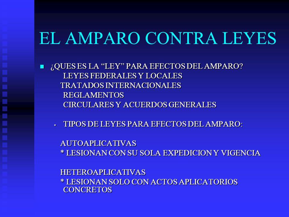 EL AMPARO CONTRA LEYES ¿QUES ES LA LEY PARA EFECTOS DEL AMPARO? ¿QUES ES LA LEY PARA EFECTOS DEL AMPARO? LEYES FEDERALES Y LOCALES TRATADOS INTERNACIO