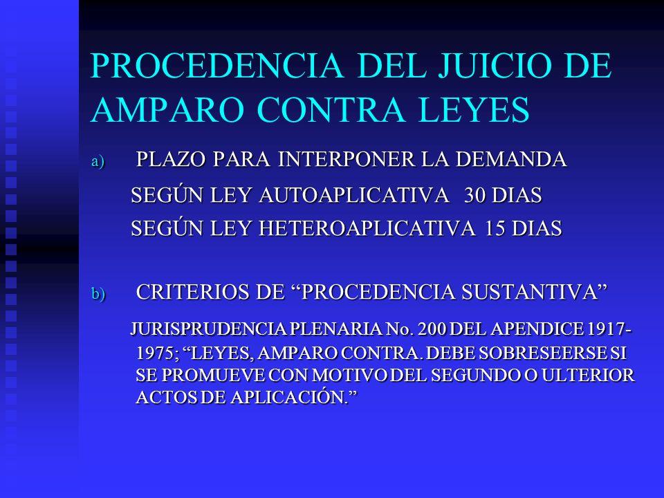 PROCEDENCIA DEL JUICIO DE AMPARO CONTRA LEYES a) PLAZO PARA INTERPONER LA DEMANDA SEGÚN LEY AUTOAPLICATIVA 30 DIAS SEGÚN LEY AUTOAPLICATIVA 30 DIAS SE