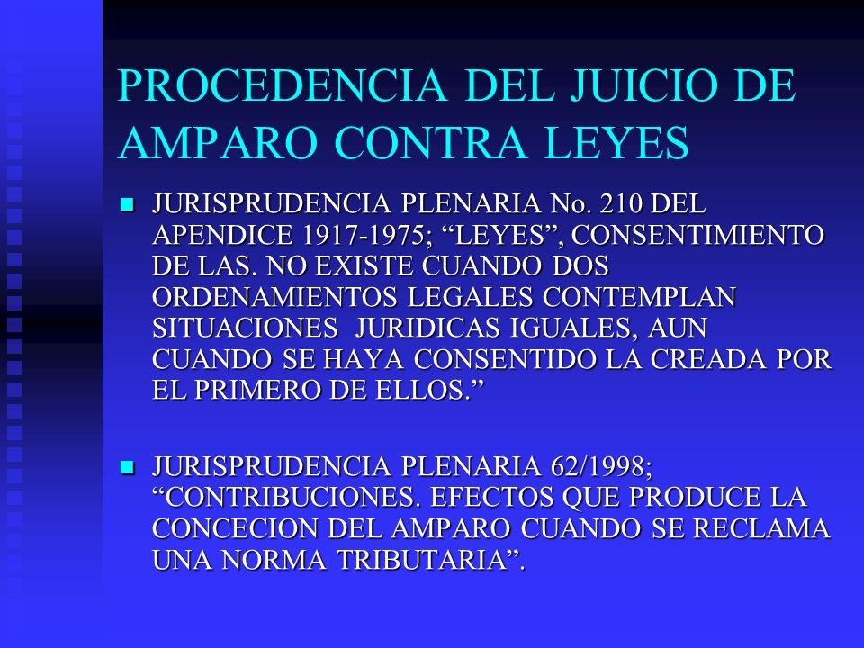 PROCEDENCIA DEL JUICIO DE AMPARO CONTRA LEYES JURISPRUDENCIA PLENARIA No. 210 DEL APENDICE 1917-1975; LEYES, CONSENTIMIENTO DE LAS. NO EXISTE CUANDO D