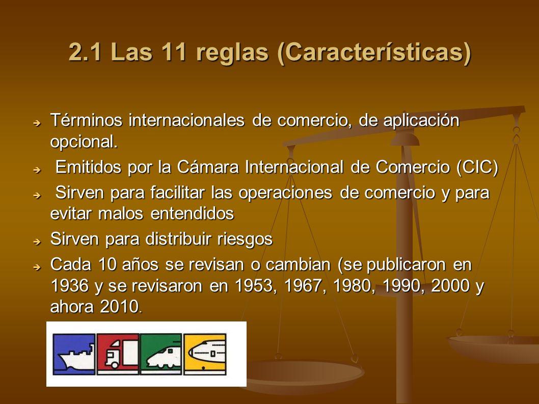 2.1 Las 11 reglas (Características) Términos internacionales de comercio, de aplicación opcional. Términos internacionales de comercio, de aplicación
